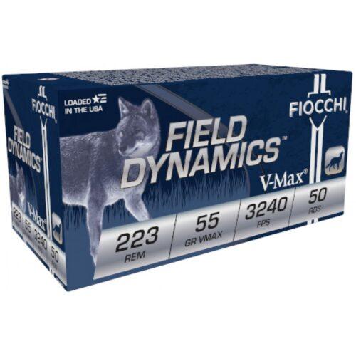 Fiocchi Field Dynamics Rifle Ammunition, .223 REM, 40Gr. V-MAX, 50Rd. Box (223HVB50)