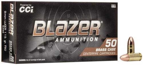 CCI Blazer Brass 9mm 115gr 50Rd FMJ