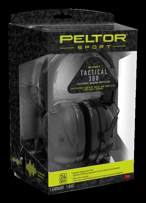 3M Peltor Sport Tactical 300 Electronic Earmuffs, Black