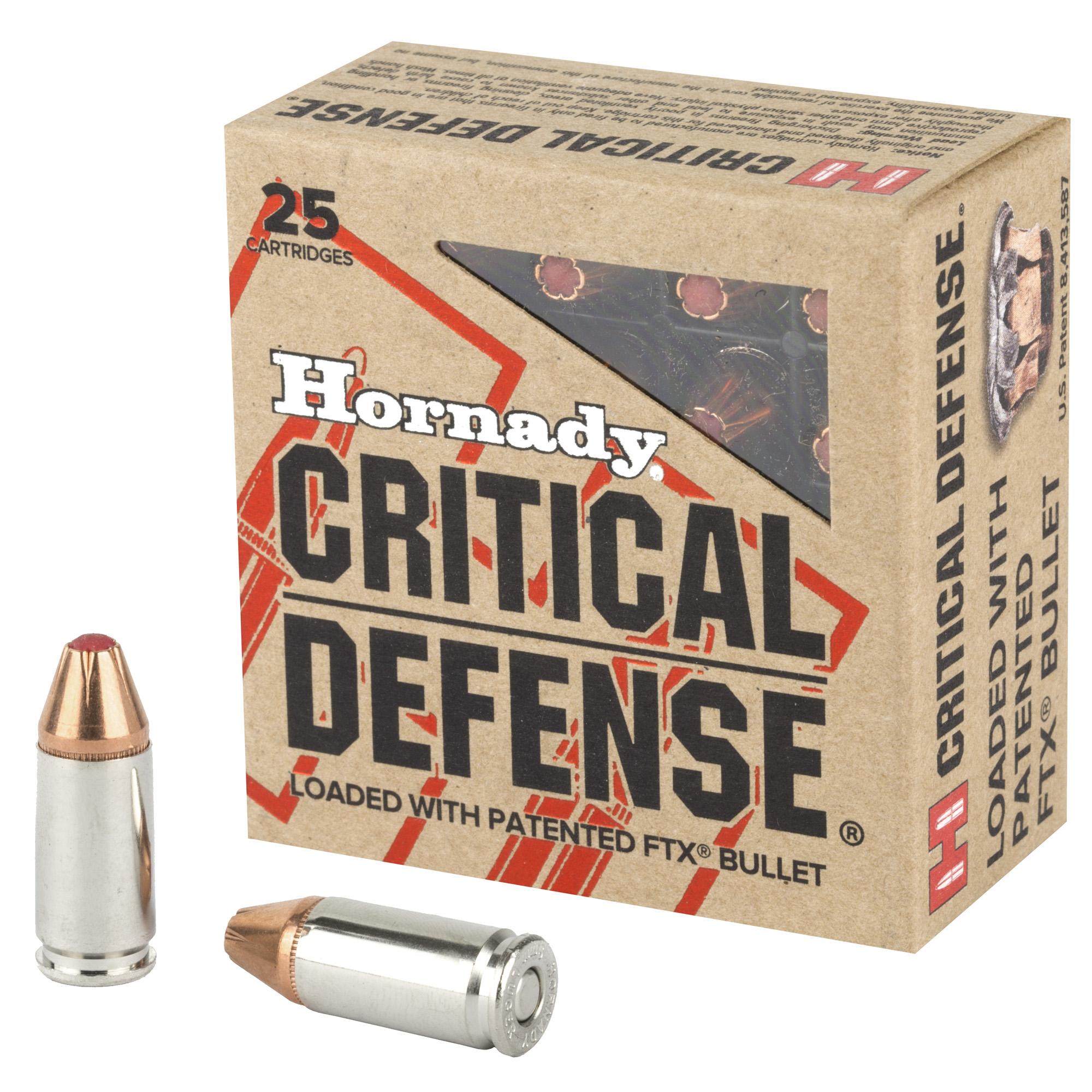 Hornady Critical Defense 9mm Ammunition 115gr FTX, 25Rd Box