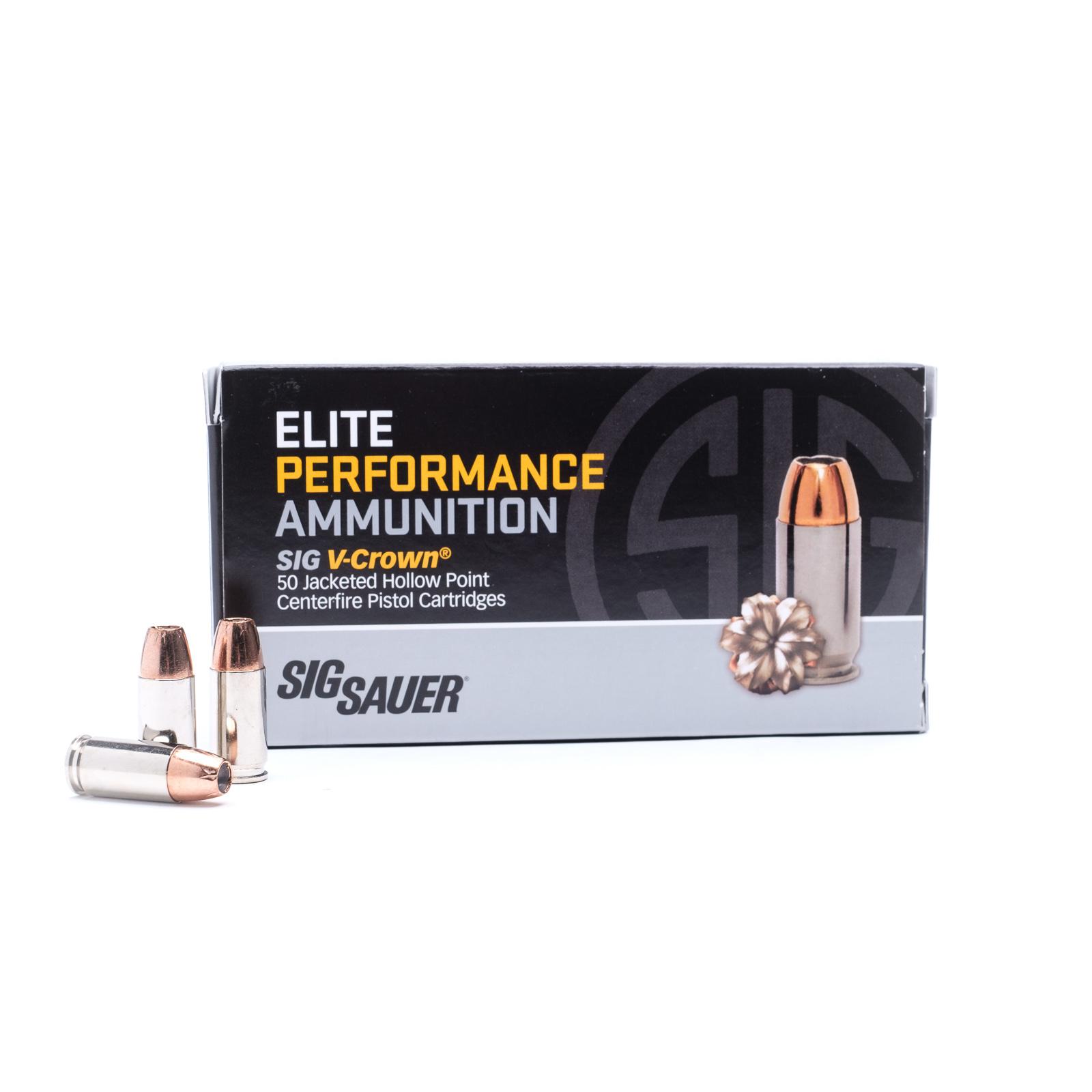 Sig Sauer, Elite Performance V-Crown, 9MM Ammunition, 147 Grain, Jacketed Hollow Point, 50 Round Box