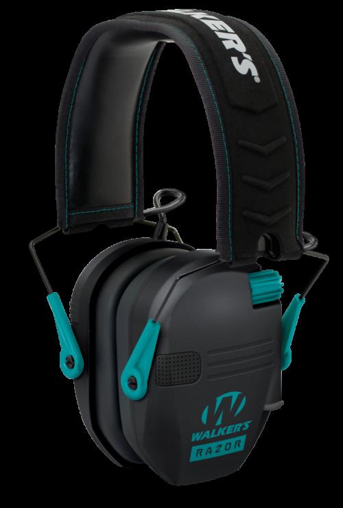 Walkers Razor, Slim Folding Electronic Earmuff, 23 dB, Black/Teal