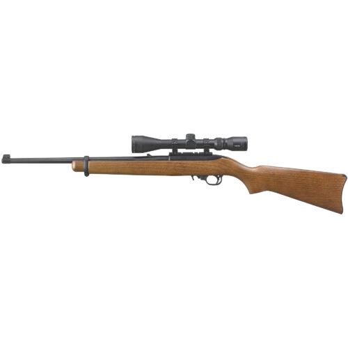 Ruger 10/22 Carbine, 22LR, Satin Black Finish, Hardwood Stock, with Scope and Case (31159)