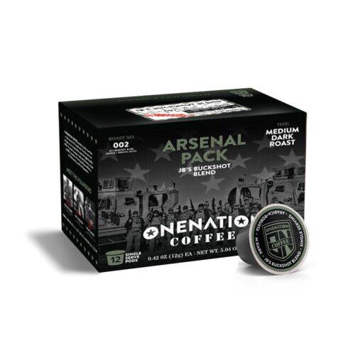 OneNation Coffee, Arsenal 12 Pack, JB's Buckshot Blend - Med. Roast (ON-JB BUCKSHOT BLEND-K12)