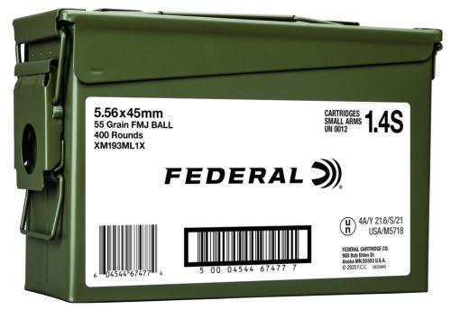 Federal 5.56mm Ammunition, 400RD Ammo Can (XM193ML1X)