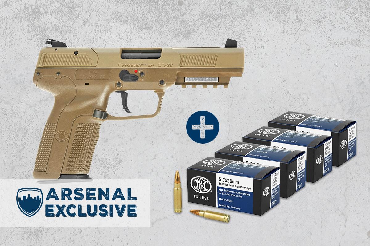 FN Five-Seven 5.7x28mm Pistol, FDE + Ammo Package (AE0015)