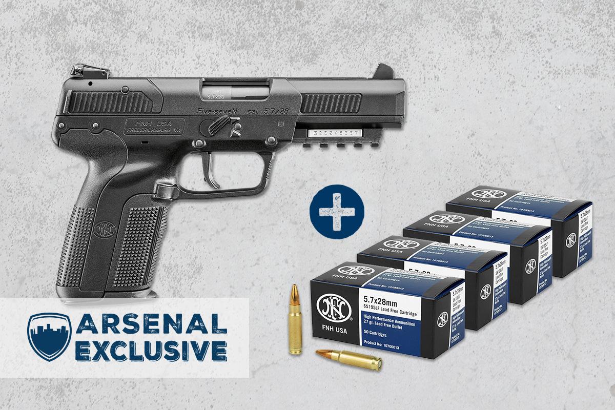 FN Five-Seven 5.7x28mm Pistol, Black + Ammo Package (AE0016)