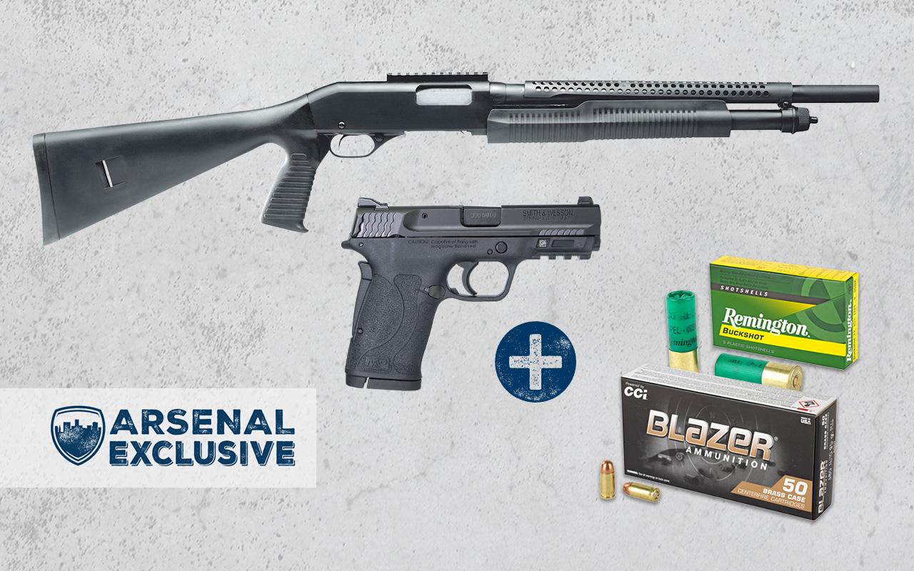 Smith & Wesson ShieldEZ 380ACP Pistol + Savage Security 320 12GA Pump Shotgun + Ammo Package (AE0022)