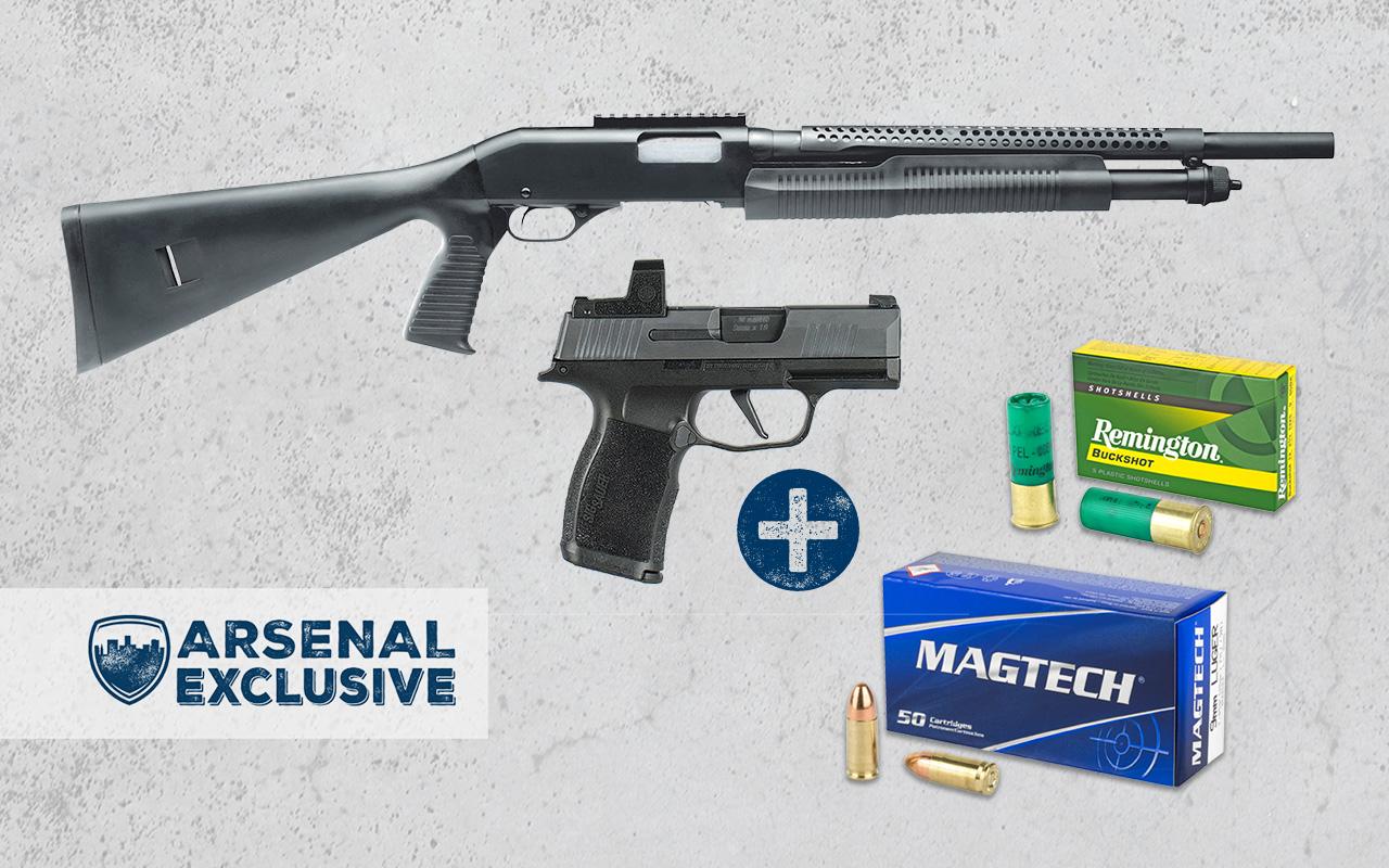 Sig Sauer P365X with Romeo Zero Optic + Savage Security 320 12GA Pump Shotgun + Ammo Package (AE0025)