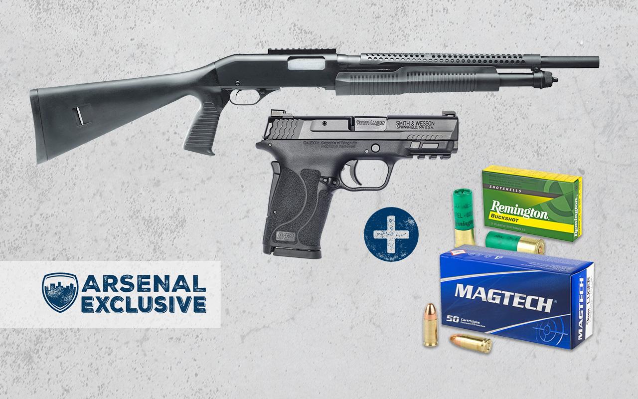 Smith & Wesson M&P9 Shield EZ 9mm Pistol + Savage Security 320 12GA Pump Shotgun + Ammo Package (AE0024)
