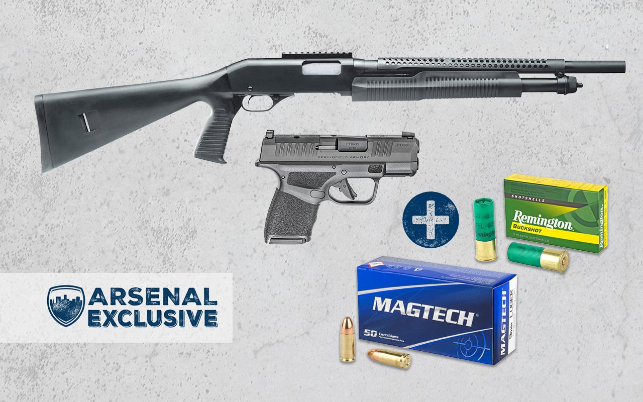 Springfield Hellcat OSP 9mm Pistol + Savage Security 320 12GA Pump Shotgun + Ammo Package (AE0027)
